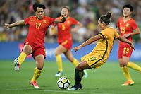 22 November 2017, Melbourne - KYAH SIMON (17) of Australia kicks the ball during an international friendly match between the Australian Matildas and China PR at AAMI Stadium in Melbourne, Australia.. Australia won 5-1. Photo Sydney Low