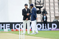 Kane Williamson, New Zealand and Virat Kohli, India shake hands following the toss during India vs New Zealand, ICC World Test Championship Final Cricket at The Hampshire Bowl on 19th June 2021
