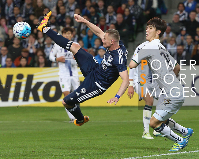 Besart Berisha of the Victory heads the ball at goal during the Melbourne Victory (AUS) vs Jeonbuk Hyundai Motors (KOR) in their AFC Champions League Round of 16 match on 17 May 2016 held at the Rectangular Stadium in Melbourne, Australia. Photo by Mark Dadswell/ Lagardere Sports