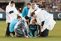Melbourne, 24 July 2015 - Fabien Delph of Manchester City leaves the field on a stretcher in game three of the International Champions Cup match between Manchester City and Real Madrid at the Melbourne Cricket Ground, Australia. Real Madrid def City 4-1. (Photo Sydney Low / AsteriskImages.com)
