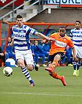 Nederland, Volendam, 31 mei 2015<br /> Playoffs om promotie/degradatie<br /> Seizoen 2014-2015<br /> FC Volendam-De Graafschap<br /> Brandley Kuwas (r.) van FC Volendam in actie met bal. Links Ted van de Pavert van De Graafschap.