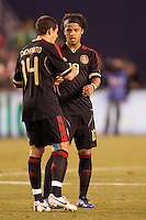 Mexican national team starlets Javier 'Chicharito' Hernandez (L-14) and Giovani Dos Santos (R-10). The national teams of Mexico and Venezuela played to a 1-1 draw in an International friendly match at  Qualcomm stadium in San Diego, California on  March 29, 2011...