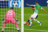 7th November 2020; Camp Nou, Barcelona, Catalonia, Spain; La Liga Football, Barcelona versus Real Betis;  Leo Messi beats Ruiz of Betis to get his shot towards goal but saved by Bravo of Betis