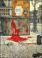 Dobuschinski, Mstislaw Walerianowitsch (1875-1957), Oktoberidylle, Zeichnung aus der Zeitschrift 'Schupel', 1905, Nr, 1, Farblithographie, Russische Malerei, Ende des 19.   Anfang des 20, Jhs, 1905, Russische Staatsbibliothek, Moskau.   Dobuzhinsky, Mstislav Valerianovich (1875-1957), The Idyll of October, Drawing for the magazine 'Zhupel', 1905, No, 1, Colour lithograph, Russian Painting, End of 19th.   Early 20th cen, 1905, Russian State Library, Moscow. VG-Bild-Kunst Bonn  Credit: culture-images/fai  Persoenlichkeitsrechte werden nicht vertreten.  Verwendung / usage: weltweit / worldwide