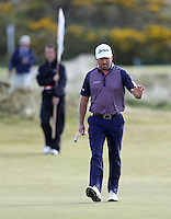 Saturday 30th May 2015; Graeme McDowell, Northern Ireland, acknowledges the crowd as he walks onto the 4th green<br /> <br /> Dubai Duty Free Irish Open Golf Championship 2015, Round 3 County Down Golf Club, Co. Down. Picture credit: John Dickson / SPORTSFILE