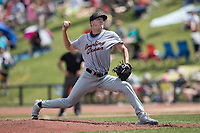 Bowling Green Hot Rods pitcher Peter Bayer (21) delivers a pitch to the plate against the Great Lakes Loons during the Midwest League baseball game on June 4, 2017 at Dow Diamond in Midland, Michigan. Great Lakes defeated Bowling Green 11-0. (Andrew Woolley/Four Seam Images)