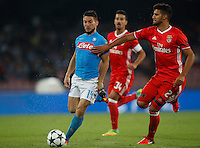 Calcio, Champions League: Napoli vs Benfica. Napoli, stadio San Paolo, 28 settembre 2016.<br /> Napoli's Dries Mertens, left, is challenged by Benfica's Lisandro Lopez during the Champions League Group B soccer match between Napoli and Benfica at Naple's San Paolo stadium, 28 September 2016. Napoli won 4-2.<br /> UPDATE IMAGES PRESS/Isabella Bonotto