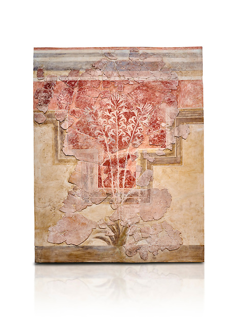 Minoan fresco panel from the 'Lily Frescoes' from the 'Villa of the Lilies' Amnisos, 1600-1500 BC. Heraklion Archaeological Museum.  White Background. <br /> <br /> Ths freco depicts white lilies against a red background and red lilies against w white backgoround with long stems in front of a fence. The wall art uses fresco and 'in cavo' technique. Neopalatial Period.