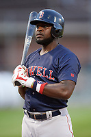 Lowell Spinners designated hitter Brandon Phillips (7) at bat in the top of the seventh inning during a game against the Auburn Doubledays on July 13, 2018 at Falcon Park in Auburn, New York.  Phillips was promoted to Triple-A Pawtucket after the game; the former All-Star signed a minor league free agent deal with the Boston Red Sox June 27th and played six games with the Spinners batting .318 with one home run and 7 RBI's.  Lowell defeated Auburn 8-5 in ten innings (Mike Janes/Four Seam Images)