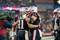 FOXBOROUGH, MA - OCTOBER 27: New England Patriots Wide Receiver Julian Edelman #11 celebrates with New England Patriots Offensive lineman Ted Karras #75 during a game between Cleveland Browns and New Enlgand Patriots at Gillettes on October 27, 2019 in Foxborough, Massachusetts.