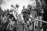 Paris-Roubaix 2013 RECON at Bois de Wallers-Arenberg..Björn Leukemans (BEL) changing tires after the Trouée d'Arenberg