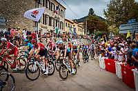 29th August 2020, Nice, France;  Illustration picture of the peleton with fans in the background during stage 1 of the 107th edition of the 2020 Tour de France cycling race, a stage of 156 kms with start in Nice Moyen Pays and finish in Nice
