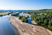 France, Nievre, Val de Loire Natural Reserve, Pouilly sur Loire, Loire River (aerial view) //  France, Nièvre (58), Réserve Naturelle du Val de Loire, Pouilly-sur-Loire, la Loire (vue aérienne)