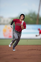 AZL Diamondbacks left fielder Alek Thomas (5) hustles to third base for a triple during the completion of a suspended Arizona League game against the AZL Angels at Tempe Diablo Stadium on July 16, 2018 in Tempe, Arizona. The game was a continuation of the July 11, 2018 contest that was suspended by rain in the middle of the eighth inning. The AZL Diamondbacks defeated the AZL Angels 12-8. (Zachary Lucy/Four Seam Images)