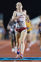 Amber Eichkorn of North Dakota comes across the finish line in 10000 meter semifinal during West Preliminary Track and Field Championships, Friday, May 29, 2015 in Austin, Tex. (Mo Khursheed/TFV Media via AP Images)