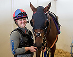 DEL MAR, CA - NOVEMBER 01: Untamed Domain, owned by West Point Thoroughbreds, Inc. and trained by H. Graham Motion, is saddled up before exercising in preparation for Breeders' Cup Juvenile Turf at Del Mar Thoroughbred Club on November 1, 2017 in Del Mar, California. (Photo by Casey Phillips/Eclipse Sportswire/Breeders Cup)