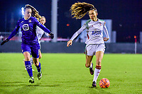 Amber Tysiak (3) of OHL pictured during a female soccer game between RSC Anderlecht Dames and Oud Heverlee Leuven on the 11 th matchday of the 2020 - 2021 season of Belgian Womens Super League , friday 22 nd of January 2021  in Tubize , Belgium . PHOTO SPORTPIX.BE | SPP | STIJN AUDOOREN