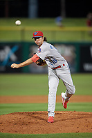 Clearwater Threshers relief pitcher Jonathan Hennigan (18) during a Florida State League game against the Dunedin Blue Jays on April 4, 2019 at Spectrum Field in Clearwater, Florida.  Dunedin defeated Clearwater 11-1.  (Mike Janes/Four Seam Images)