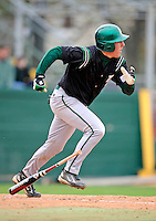 2 May 2008: Binghamton University Bearcats' catcher C.J. Lukaszewski, a Freshman from Kingston, NY, in action against the University of Vermont Catamounts at Historic Centennial Field in Burlington, Vermont. The Catamounts defeated the Bearcats 6-2 in the first game of their weekend series...Mandatory Photo Credit: Ed Wolfstein Photo