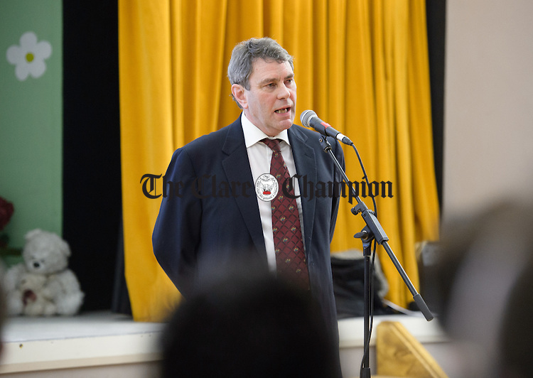 Dr. Michael Harty speaking at a public meeting as part of the #nodoctornvillage campaign in Corofin Hall. The meeting ratified Dr. Michael Harty as the Clare GP candidate for the forthcoming General election. Photograph by John Kelly.