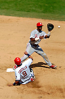 4 September 2005: Jimmy Rollins, shortstop for the Philadelphia Phillies, makes a force out at second, during a game against the Washington Nationals. The Nationals defeated the Phillies 6-1 at RFK Stadium in Washington, DC. Mandatory Photo Credit: Ed Wolfstein.