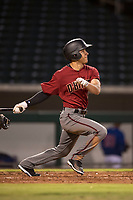 AZL Diamondbacks left fielder Alek Thomas (5) follows through on his swing during an Arizona League game against the AZL Cubs 1 at Sloan Park on June 18, 2018 in Mesa, Arizona. AZL Diamondbacks defeated AZL Cubs 1 7-0. (Zachary Lucy/Four Seam Images)