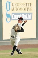 Visalia Rawhide pitcher Trevor Bauer #38 prepares to pitch against the Stockton Ports at Recreation Park on July 30, 2011 in Visalia,California. Visalia defeated Stockton 11-2.(Larry Goren/Four Seam Images)
