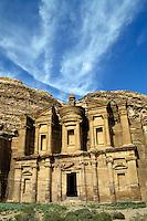 Facade of Ad Deir, an ancient rock-cut monastery in Petra, Jordan.