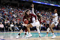 GREENSBORO, NC - MARCH 07: Emma Guy #11 of Boston College drives into the lane during a game between Boston College and NC State at Greensboro Coliseum on March 07, 2020 in Greensboro, North Carolina.