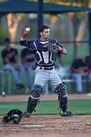 AZL Indians Blue catcher Michael Amditis (8) throws to the pitcher during an Arizona League game against the AZL White Sox on July 2, 2019 at Camelback Ranch in Glendale, Arizona. The AZL Indians Blue defeated the AZL White Sox 10-8. (Zachary Lucy/Four Seam Images)