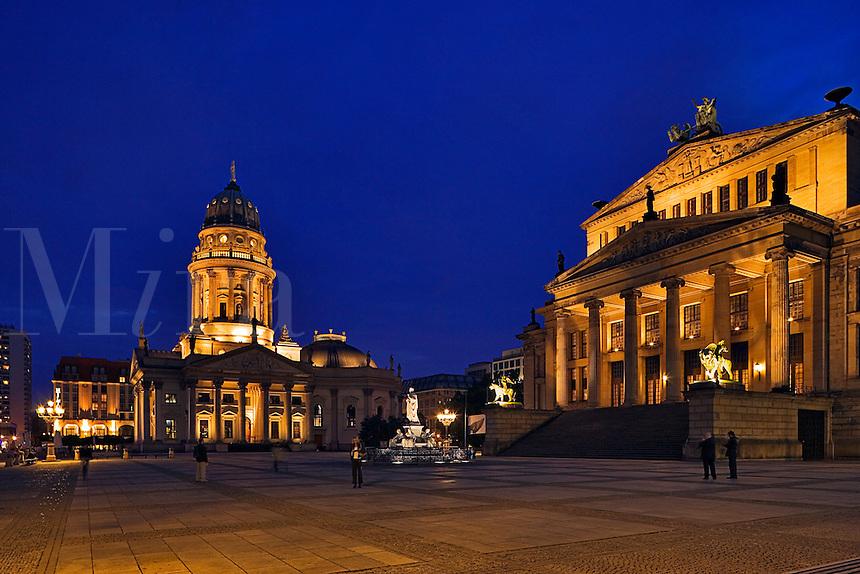 Berlin, Germany. Gendarmenmarkt.  Schauspielhaus and Deutsche Dom. Evening.