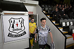 Elgin City 3 Edinburgh City 0, 13/08/2016. Borough Briggs, Scottish League Two. Home captain Archie MacPhee and his opposite number Ian McFarland leading the teams out at Borough Briggs, home to Elgin City, on the day they played SPFL2 newcomers Edinburgh City. Elgin City were a former Highland League club who were elected to the Scottish League in 2000, whereas Edinburgh City became the first club to gain promotion to the League by winning the Lowland League title and subsequent play-off matches in 2015-16. This match, Edinburgh City's first away Scottish League match since 1949, ended in a 3-0 defeat, watched by a crowd of 610. Photo by Colin McPherson.