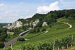 Germany, Baden-Wuerttemberg, Markgraefler Land, wine village Istein, ICE train passing vineyards