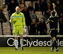 10/11/2010   Copyright  Pic : James Stewart.sct_jspa014_motherwell_v_st_johnstone  .:: PETER ENCKELMAN ESCAPES WITH A YELLOW CARD AFTER HIS LATE CHALLENGE ON CHRIS HUMPHREY   ::.James Stewart Photography 19 Carronlea Drive, Falkirk. FK2 8DN      Vat Reg No. 607 6932 25.Telephone      : +44 (0)1324 570291 .Mobile              : +44 (0)7721 416997.E-mail  :  jim@jspa.co.uk.If you require further information then contact Jim Stewart on any of the numbers above.........