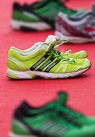 17 SEP 2011 - LA BAULE, FRA - Running shoes stand in transition during the final round of the men's French Grand Prix Series at the Triathlon Audencia in La Baule, France (PHOTO (C) NIGEL FARROW)