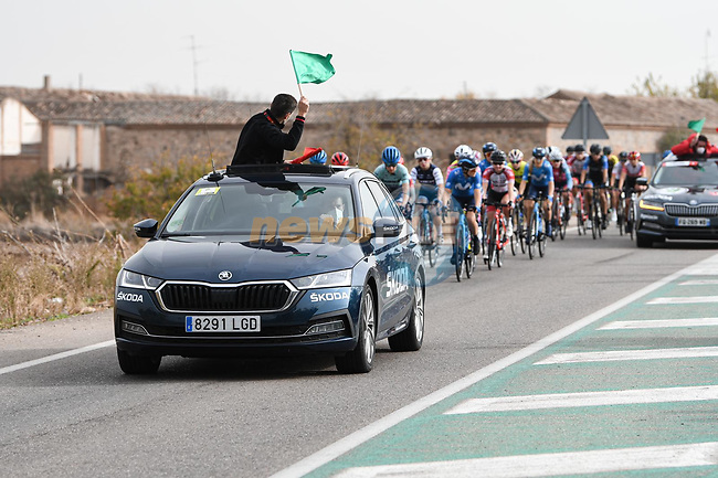 The start of Stage 1 of the CERATIZIT Challenge by La Vuelta 2020, running 82.8km from Toledo to Escalona, Spain. 6th November 2020.<br /> Picture: Antonio Baixauli López/BaixauliStudio | Cyclefile<br /> <br /> All photos usage must carry mandatory copyright credit (© Cyclefile | Antonio Baixauli López/BaixauliStudio)