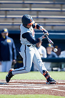 Illinois Fighting Illini outfielder Taylor Jackson (15) swings the bat during the NCAA baseball game against the Michigan Wolverines on March 20, 2021 at Fisher Stadium in Ann Arbor, Michigan. Michigan won the game 8-1. (Andrew Woolley/Four Seam Images)