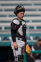 Lake Elsinore Storm catcher Luis Torrens (12) during a California League game against the Modesto Nuts at John Thurman Field on May 13, 2018 in Modesto, California. Lake Elsinore defeated Modesto 4-3. (Zachary Lucy/Four Seam Images)