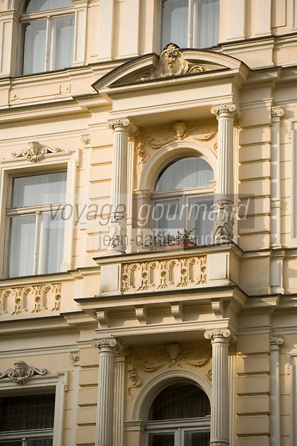 Europe/République Tchèque/Prague: Détail façade baroque d'un immeuble de la Vieille Ville