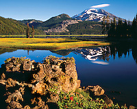 South Sister mountain from Sparks Lake Oregon in Deschutes County, Oregon