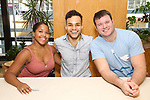 Brittany Nicholas, Iain Young, and Myles McHale attend the 'Mean Girls' Original Broadway Cast Linyl Release at the Herald Square Urban Outfitters' on August 28, 2018 in New York City.