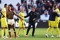 3rd October 2021;   City of London Stadium, London, England; EPL Premier League football, West Ham versus Brentford; Brentford Manager Thomas Frank celebrates the 1-2 win with players