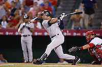 Derek Jeter of the New York Yankees during a 2007 MLB season game against the Los Angeles Angels at Angel Stadium in Anaheim, California. (Larry Goren/Four Seam Images)