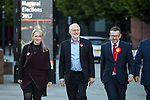 © Joel Goodman - 07973 332324 . 05/05/2017. Manchester, UK.  REBECCA LONG-BAILEY , Labour Party Leader JEREMY CORBYN and ANDREW GWYNNE arrive in Manchester following Andy Burnham's victory in the Manchester Metro mayoralty campaign , for a Momentum Rally on the steps of the Manchester Convention Centre . Andy Burnham did not attend . Photo credit : Joel Goodman