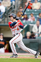 June 3, 2009:  Reid Gorecki of the Gwinnett Braves at bat during a game at Frontier Field in Rochester, NY.  The Gwinnett Braves are the International League Triple-A affiliate of the Atlanta Braves.  Photo by:  Mike Janes/Four Seam Images