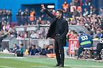Diego Pablo Cholo Simeone coach of Atletico de Madrid shouts instructions from the sideline during the match of Spanish La Liga between Atletico de Madrid and Futbol Club Barcelona at Vicente Calderon Stadium in Madrid, Spain. February 26, 2017. (Rodrigo Jimenez / ALTERPHOTOS)