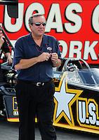 Oct. 31, 2008; Las Vegas, NV, USA: NHRA top fuel dragster team owner Don Schumacher during qualifying for the Las Vegas Nationals at The Strip in Las Vegas. Mandatory Credit: Mark J. Rebilas-