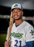 13 June 2018: Vermont Lake Monsters outfielder James Terrell poses for a portrait on Photo Day at Centennial Field in Burlington, Vermont. The Lake Monsters are the Single-A minor league affiliate of the Oakland Athletics, and play a short season in the NY Penn League Stedler Division. Mandatory Credit: Ed Wolfstein Photo *** RAW (NEF) Image File Available ***