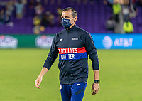 ORLANDO, FL - JANUARY 22: Vlatko Andonovski of the USWNT walks onto the field during a game between Colombia and USWNT at Exploria stadium on January 22, 2021 in Orlando, Florida.