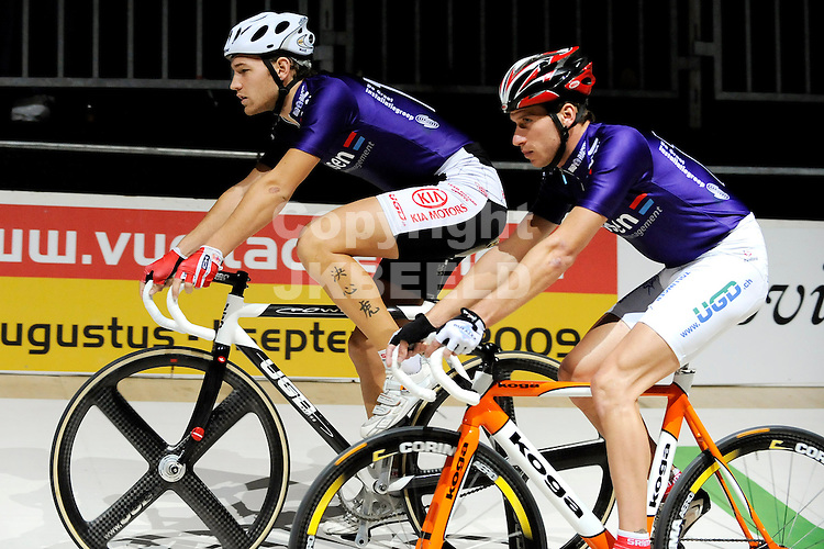 wielrennen zesdaagse van het noorden zuidlaren 25-11-2008 tobias baumgartner en maxime bally.